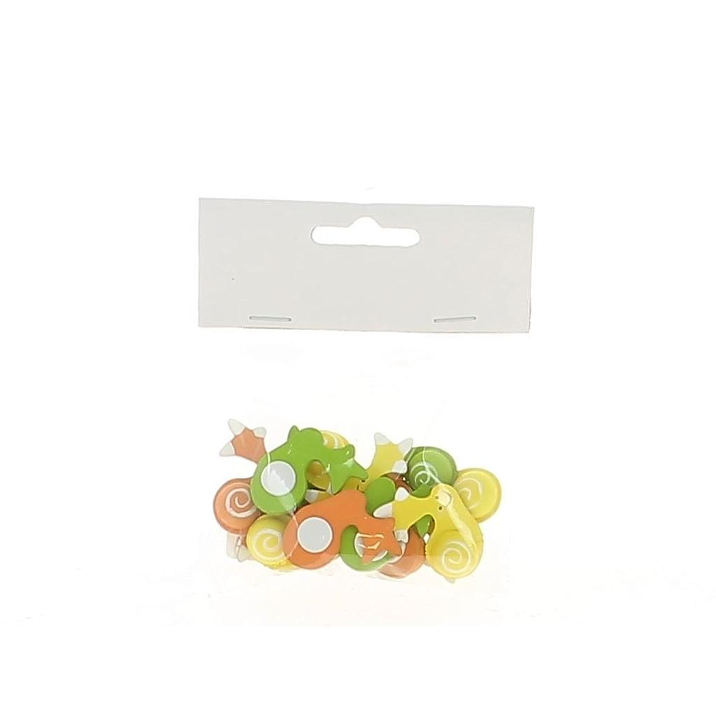 SACHET DE 12 AUTOCOLLANTS ESCARGOT ORANGE JAUNE VERT_3,5cm _19LX1056